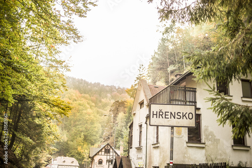 Photo  View of Hrensko, a small village situated in Bohemian Switzerland, Czech Republi