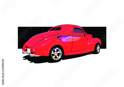 Staande foto Cartoon cars hot rod cartoon illustration red coupe