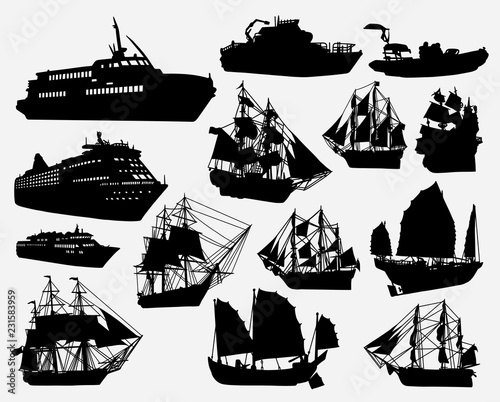 In de dag Schip Ship and boat transportation silhouette for symbol, logo, web icon, mascot, game elements, mascot, sign, sticker design, or any design you want. Easy to use.