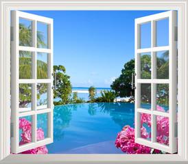 Panel Szklany Podświetlane Otwarte okna view of window with sea