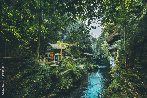 Hut in  Hrensko national Park, situated in Bohemian Switzerland, Czech Republic Wallpaper Mural