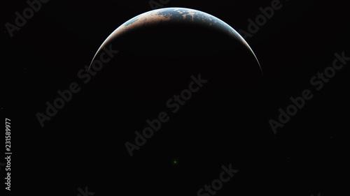Fototapeta sunrise from planet orbit obraz na płótnie