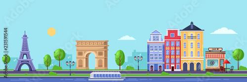 Sezon letni w Paryżu. Płaskie ilustracji wektorowych gród z Wieży Eiffla, Łuk Triumfalny i starych budynków.