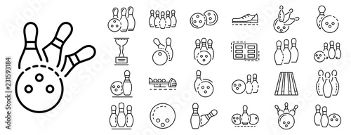 Canvas Bowling icon set
