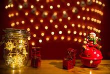 Christmas Fairy Lights In A Mason Jar, Glowing In The Dark, Fairy Lights In Mason Jar With Selective Focus, Glitter Overlay