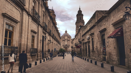 Morelia alley leading to cathedral
