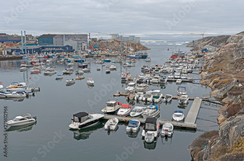 Spoed Fotobehang Poolcirkel The Harbor of a Remote Greenland Fishing Village