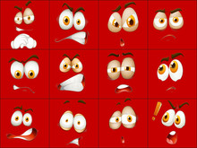 Set Of Red Face Expression