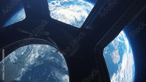 Fototapeta Earth view from space from the window of the international space station 3d illu