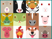 Set Of Chinese Zodiac Animals Face