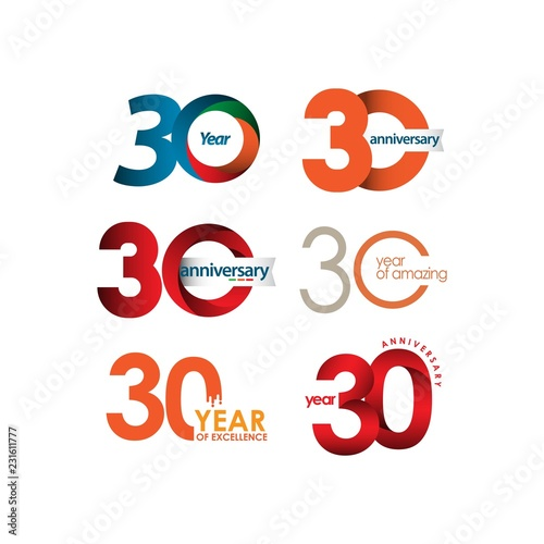Tela 30 Year Anniversary Set Vector Template Design Illustration