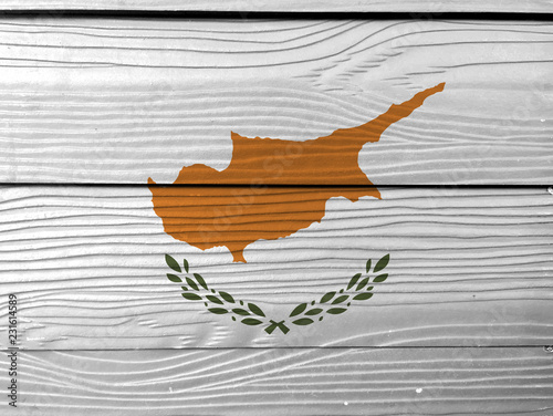 Foto op Aluminium Cyprus Flag of Cyprus on wooden wall background. Grunge Cyprus flag texture, an outline of the country of Cyprus above twin olive branches.