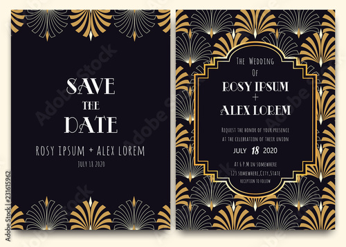 Photo An Art Deco Wedding Card with a Gold-patterned Background.