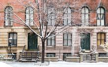 Winter Scene With Snow Covered Sidewalks Along Stuyvesant Street In The East Village Neighborhood Of New York City