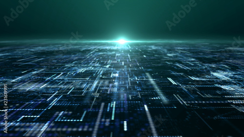 Photo Futuristic digital matrix particles grid virtual reality abstract cyber space en