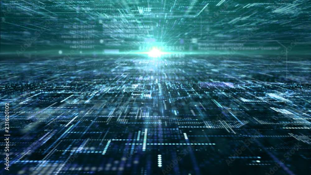 Fototapety, obrazy: Futuristic digital matrix particles grid virtual reality abstract cyber space environment background