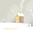 Иллюстрация в нейтральных тонах с бежевым домиком, стоящим среди зимних деревьев и кустов во время снегопада. Надпись внизу.