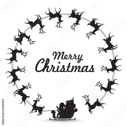 Christmas Wreath Silhouette Vector.Christmas Wreath Elements With Santa Claus Rides Reindeer