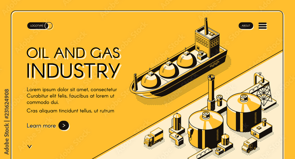 Fototapeta Oil and gas industry isometric vector web banner. Petroleum tanker, LNG carrier near oil refinery plant or natural gas terminal in sea port, line art illustration. Energy company landing page template