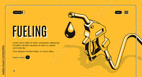 Photo  Fueling gasoline or diesel isometric vector web banner