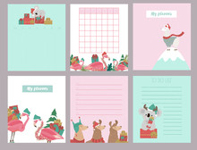 Cute Set Of Christmas Weekly Planner And Schedule With Alpaca, Flamingo And Koala Bear. Editable Vector Illustration