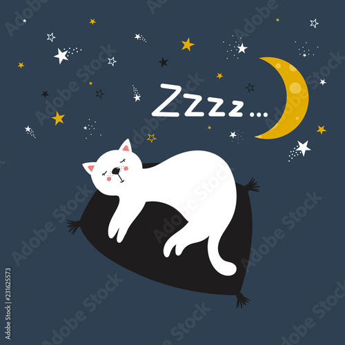 Hand drawn illustration with cat, moon, stars and lettering. Colorful cute background vector. Good night, poster design. Backdrop with english text, animal. Funny card, phrase