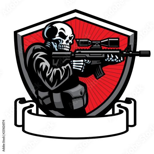 Fototapeta skull soldier shooting the assault rifle