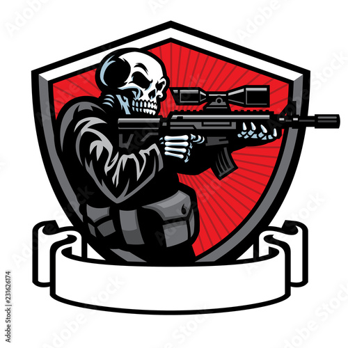 Cuadros en Lienzo  skull soldier shooting the assault rifle