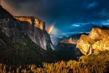 Double Rainbow Over El Capitan Seen From The Tunnel View Oveerlook In California's Yosemite National Park