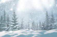 Merry Christmas And Happy New Year Greeting Background With Copy-space.Beautiful Winter Landscape With Snow Covered Trees.