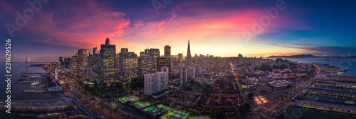 Aerial Panoramic View of San Francisco Skyline at Sunset - 231629526