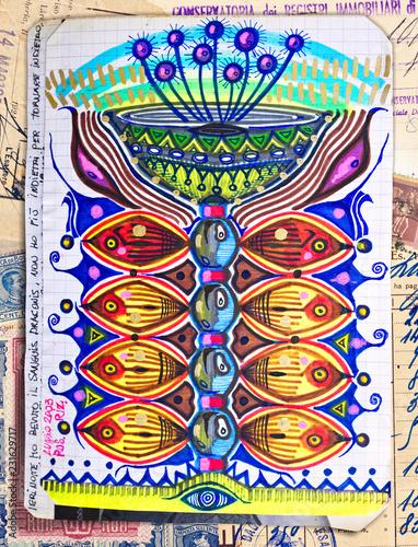 Fotobehang Imagination Pianta, e fungo, magica. Disegni e manoscritti con pianta psicotropa delle popolazioni indigene