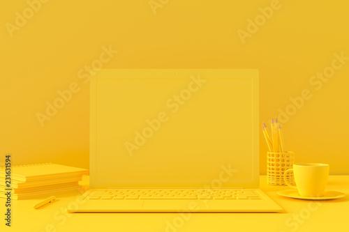 Laptop on table Work desk Minimal concept