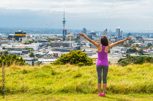 Auckland city skyline view from Mount Eden of Sky tower, New Zealand Canvas Print