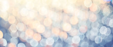 Banner Size Of Abstract Pastel Blue Orange And Yellow Bokeh Light Background.light Show Festival At Night.