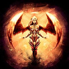 Piękna dziewczyna anioła w pomarańczowym blasku
