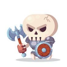 Fantasy RPG Game Character Monsters And Heros Icons Illustration. Evil Enemy Warrior Skeleton With Axe And Shield