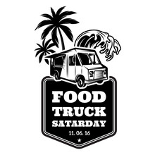 Template For Advertising In Retro Style On A Food Festival Theme With Food Track, Palm Trees And Water Wave. Vector Monochrome Illustration