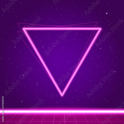 Poster Violet Futuristic background the 80`s. New retro wave.