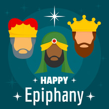 Happy Epiphany Concept Background. Flat Illustration Of Happy Epiphany Vector Concept Background For Web Design