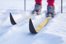 Ski On Track In The Fresh, White Snow In Winter Day. Classic Cross Country Skiing. Active Lifestyle. Enjoying Sport. Closeup.
