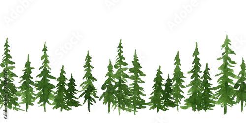 Fotografie, Obraz  Watercolor green pine trees