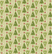 Christmas Tree Seamless Pattern. Merry Christmas. Happy New Year. Vector Background.