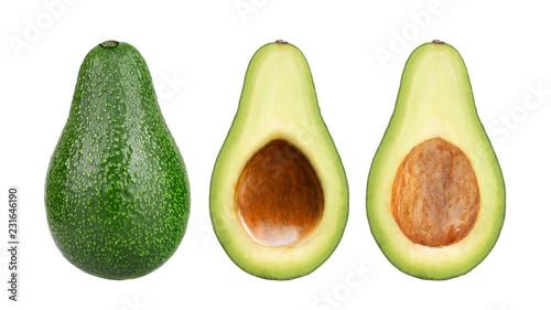 Photo  Fresh avocado fruits cit in half isolated on white background.