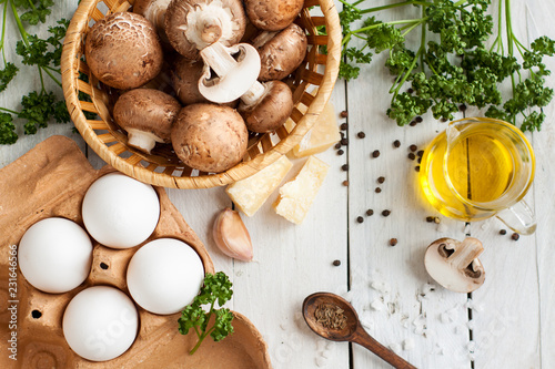 Ingredients for baking eggs with mushrooms
