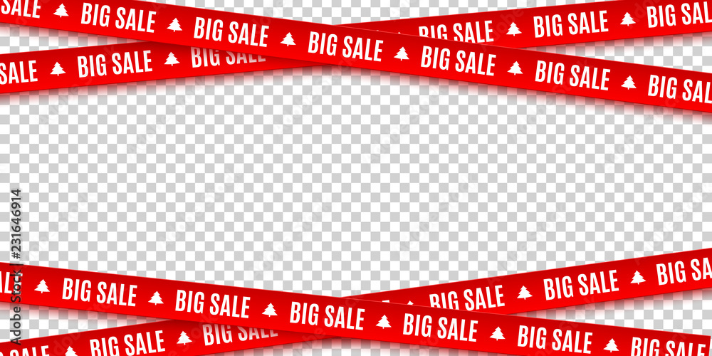 Fototapeta Red ribbons for Christmas sale isolated on transparent background. Big sale. Graphic elements. Vector illustration