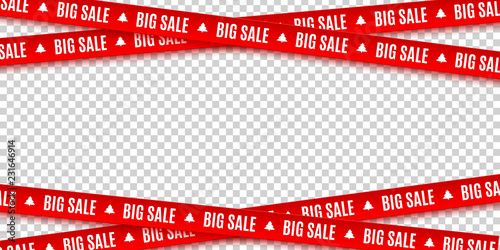 Fototapeta Red ribbons for Christmas sale isolated on transparent background. Big sale. Graphic elements. Vector illustration obraz