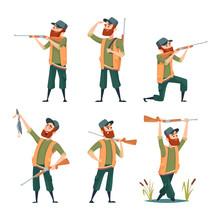 Cartoon Hunters. Various Characters Of Hunters At Action Poses. Hunter Character With Gun Rifle, Male With Shotgun Illustration