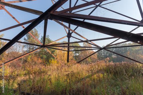 Valokuva  Fragment of steel lattice transmission tower of overhead power line