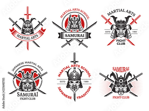Samurai mask labels. Japan angry faces for warrior armor vector ...